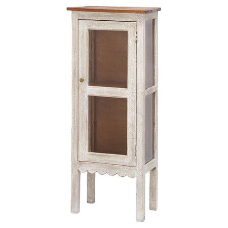 Antiqued Cabinet With A Scalloped And Gl Door Product Cabinetconstruction Material China