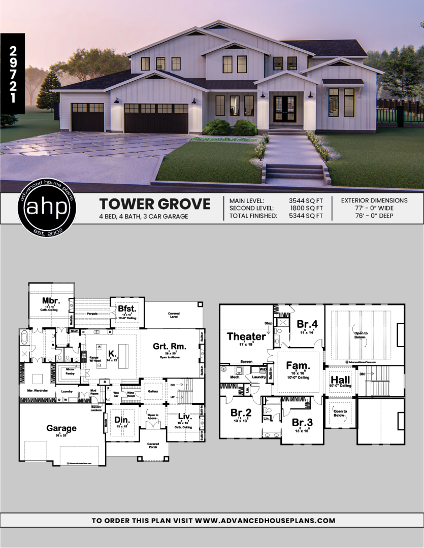 Photo of 1.5 Story Modern Farmhouse Style House Plan | Tower Grove