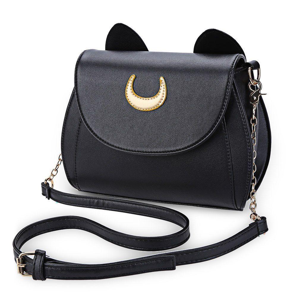 Encontrar Más Bolsas de hombro Información acerca de Kawaii Verano Sailor Moon  Luna Gato Forma de Bolsa de Hombro de la Cadena Bolso de Las Señoras Negro  de ... ebdfe9b6f51c5