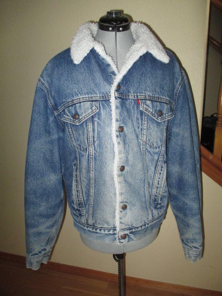 9a56dcb434a Vintage LEVIS SAN FRANCISCO Sherpa Lined Denim Jean Trucker Jacket USA size  44L