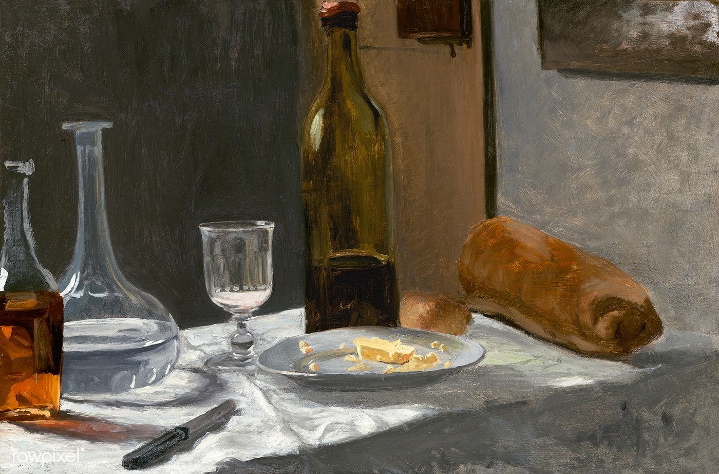 Still Life with Bottle, Carafe, Bread, and Wine (1862 –1863) by Claude  Monet. Original from the National Gallery of Art. Digitally enhanced by  rawpixel. |…