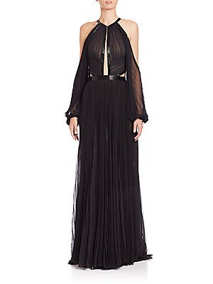 J Mendel Pleated Silk Halter Gown