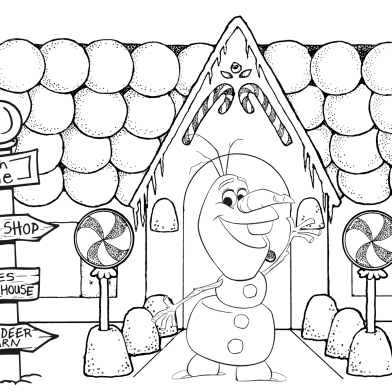 Christmas Coloring Pages Olaf Background
