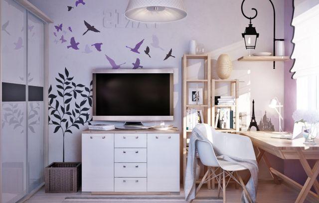 Wandgestaltung jugendzimmer m dchen flieder farbe aufkleber v gel chambre jugendzimmer - Flieder farbe wand ...