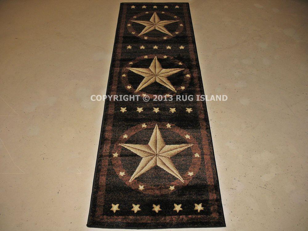 2x8 2 3 X 7 7 Texas Lone Star Rustic Cowboy Western Brown Black Area Rug Black Area Rugs Rustic Cowboy Decor Rugs