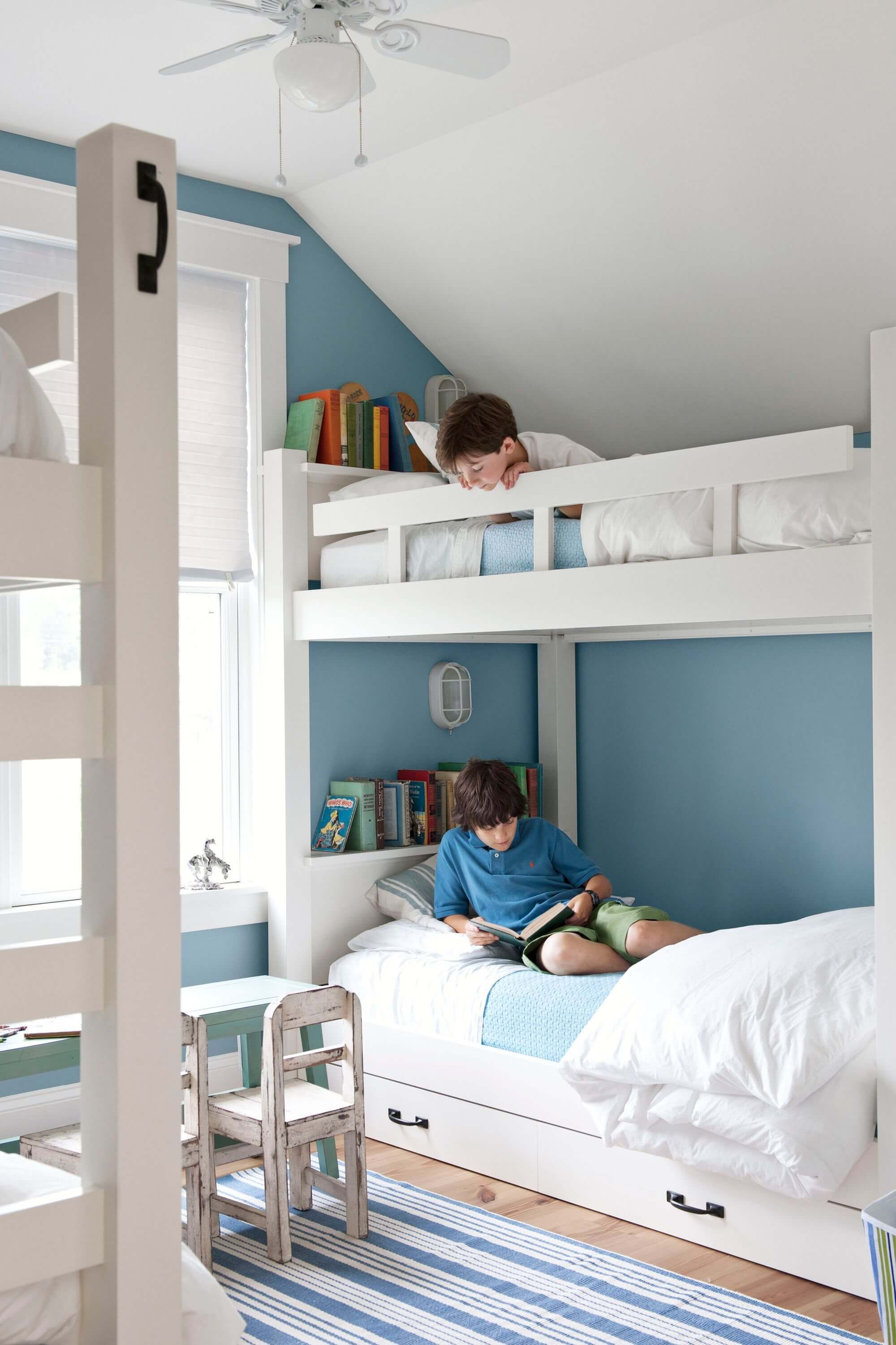 27 Kids Bedrooms Ideas That Ll Let Them Explore Their Creativity White Kids Room Blue Rooms Bunk Bed Designs