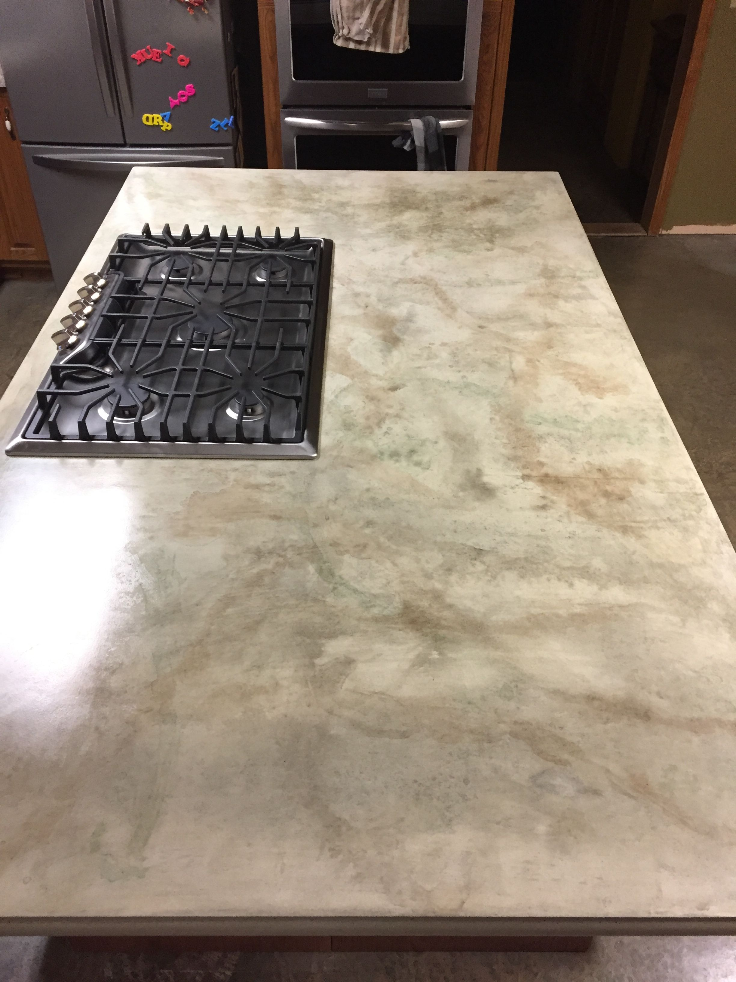 Concrete Countertop Made With Combination Of Tints Stains And Dyes