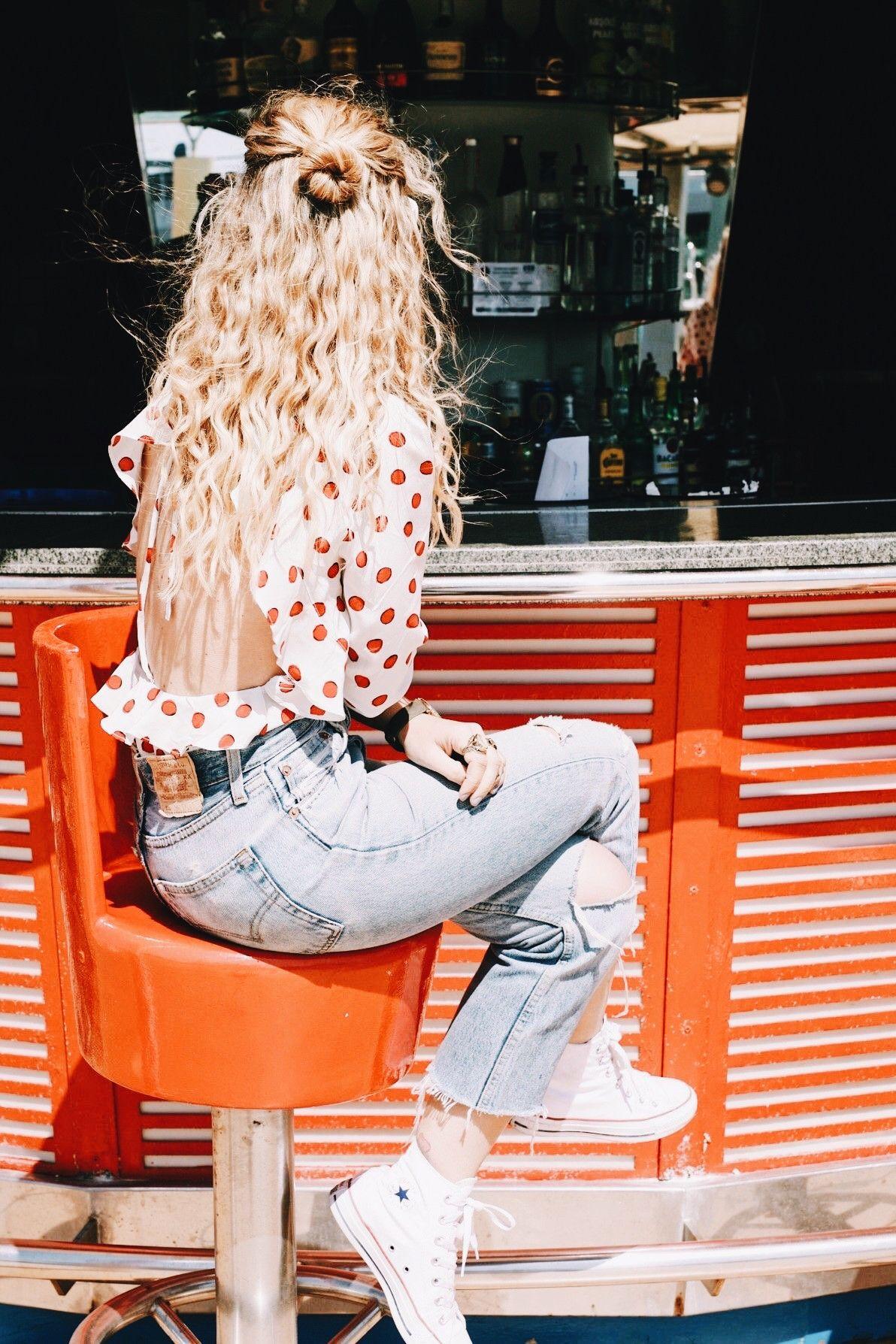 d16a83e0a69 Dots blouse shirt chucks allstars denim jeans summer style fashion spring  hair faded red bar