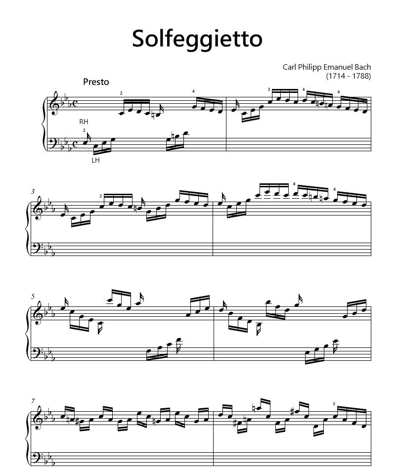 Solfeggietto in C Minor by C.P.E. Bach. Perfect classical piano ...