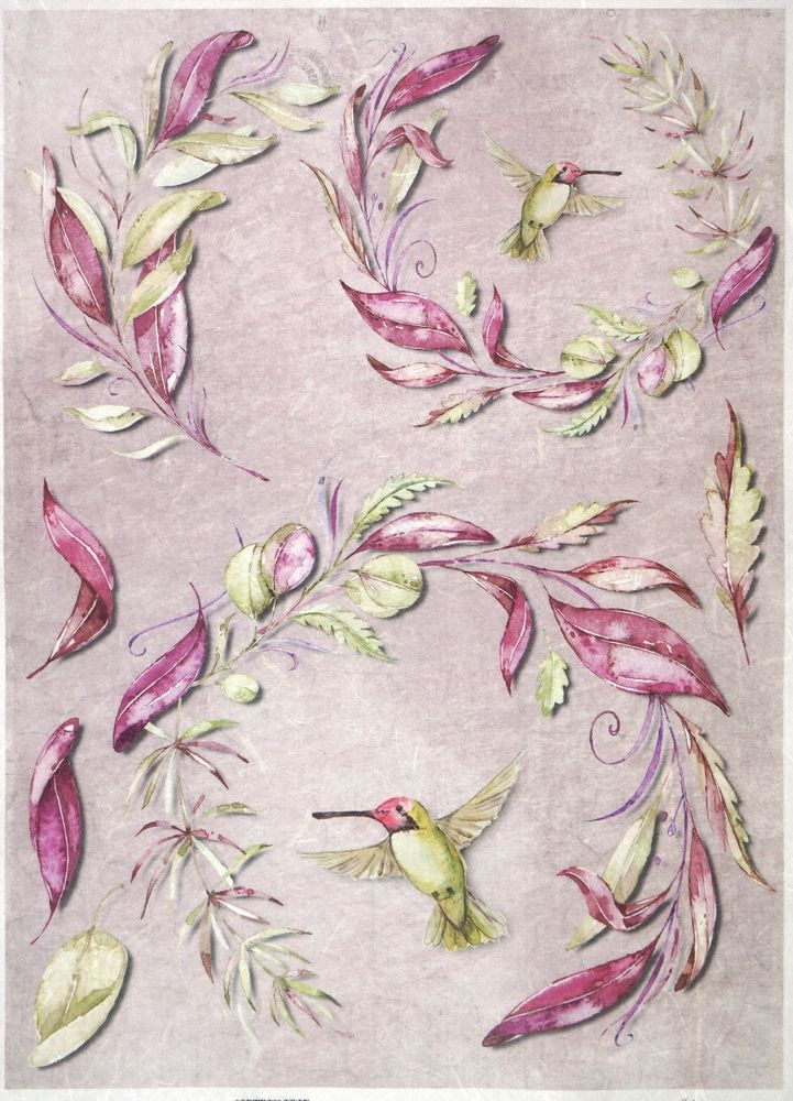 Rice Paper for Decoupage Decopatch Scrapbook Craft Sheet Vintage Hummingbirds
