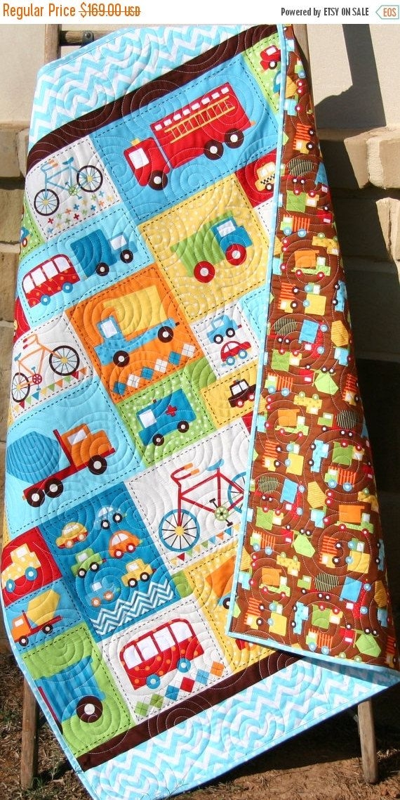 Last One Baby Nursery Decor Transportation Quilt Handmade Blanket Vehicles Cars Fire