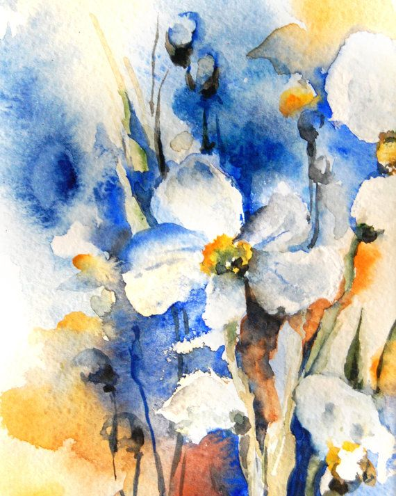 Blue Yellow Field Flower Painting, Art Print from Watercolor Painting, Abstract Floral Watercolour Wall Art