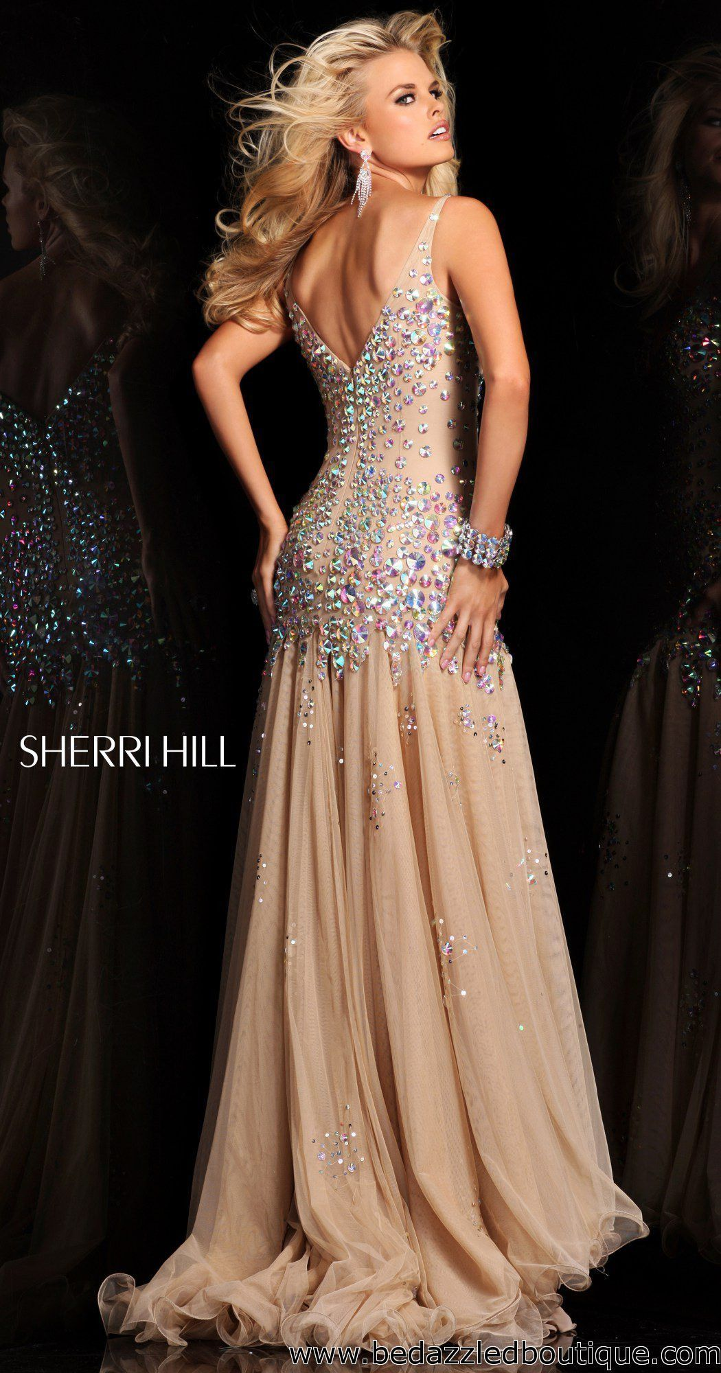 Sherri hill chiffon gown jewel and gowns