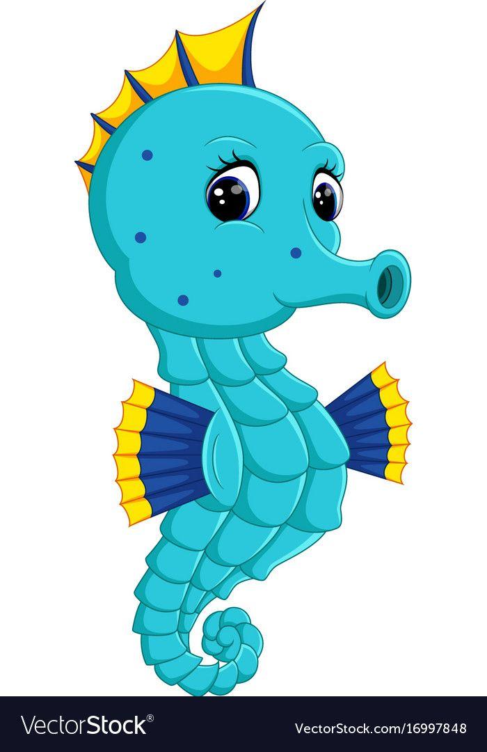 Cartoon Watercolor Seahorse Royalty Free Vector Image Baby Animal Drawings Sea Animals Drawings Animal Clipart