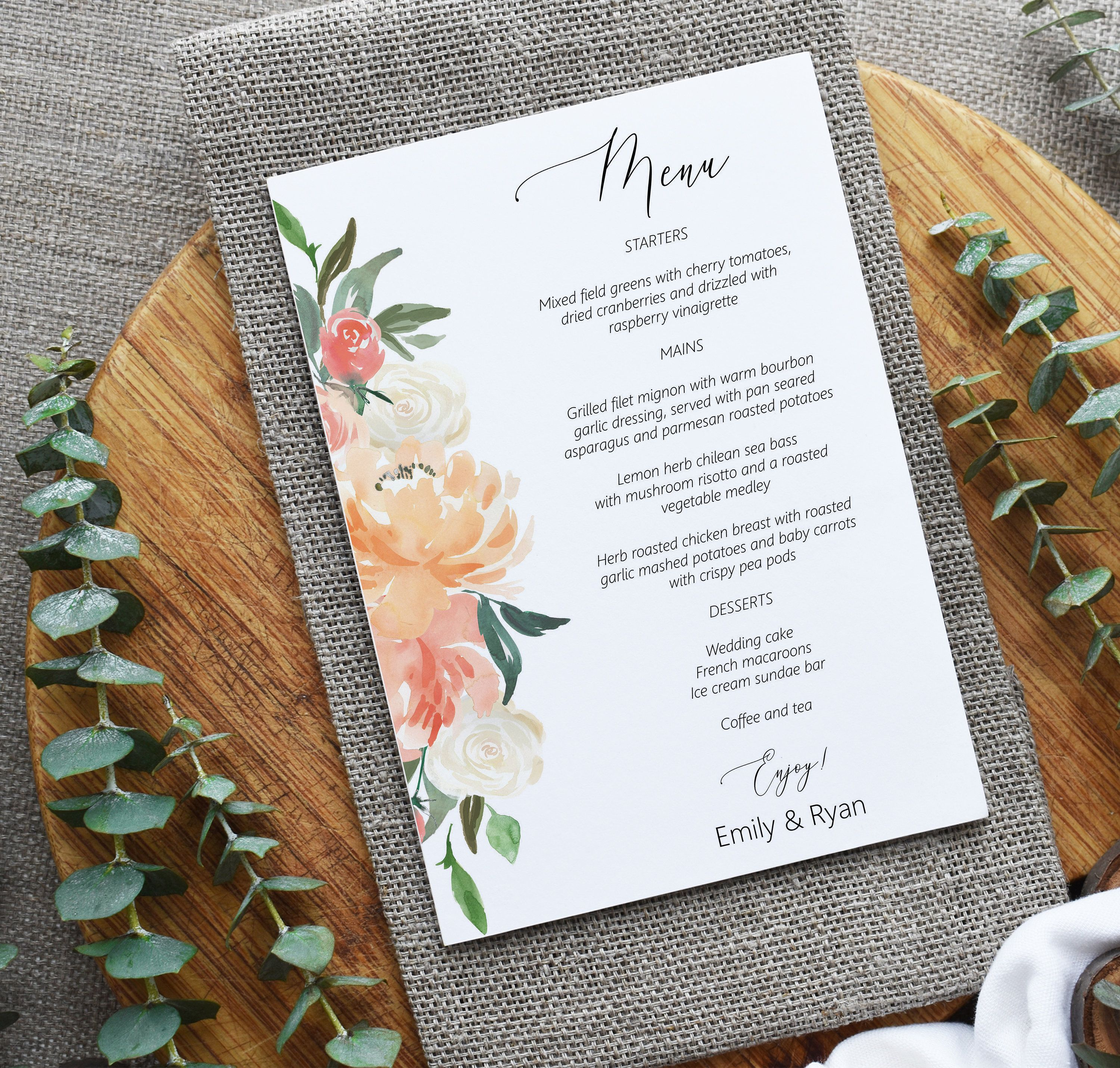 Peach Floral Menu Card Editable Template 5x7 Printable Etsy In 2020 Printable Wedding Menu Diy Menu Cards Menu Cards