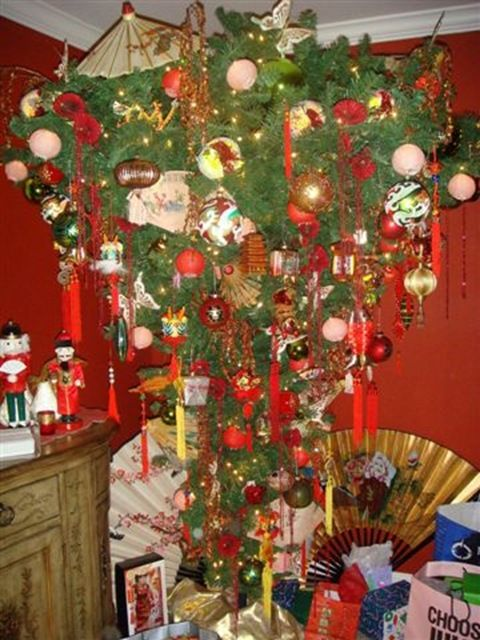 Upside down asian themed Christmas tree | Christmas ...