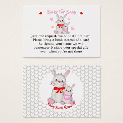 Whimsy cute bunny rabbits baby shower book request business card whimsy cute bunny rabbits baby shower book request business card baby gifts giftidea diy unique negle Image collections