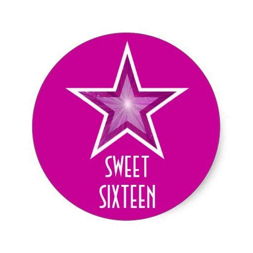 Pink Star 'Sweet Sixteen' round sticker pink