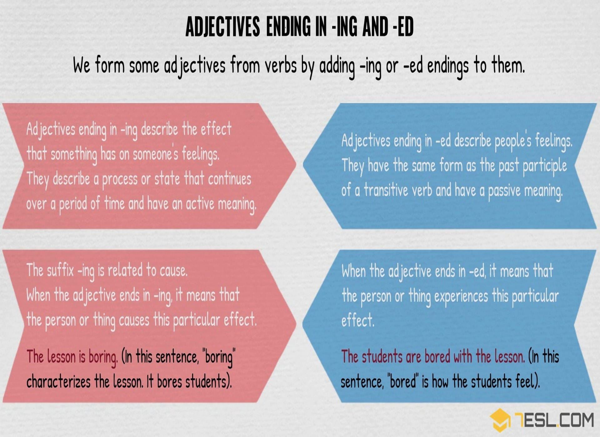 Adjectives Ending In Ed And Ing Useful List Great Examples 7esl Adjectives English Writing Learn English [ 1400 x 1920 Pixel ]