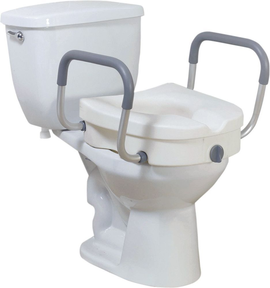 Deluxe Elevated Raised Toilet Seat Riser With Arms 300lbs