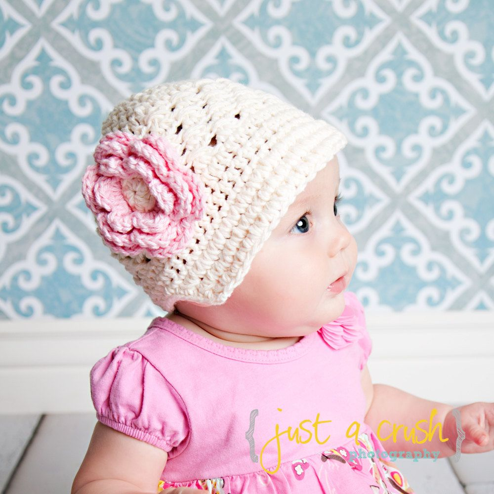 Crochet Baby Hat Crochet Visor Beanie Hat Cream and by Karenisa