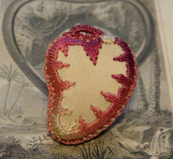 cross stitch sacred heart   Vintage Sacred Heart Hand Sewn Heart