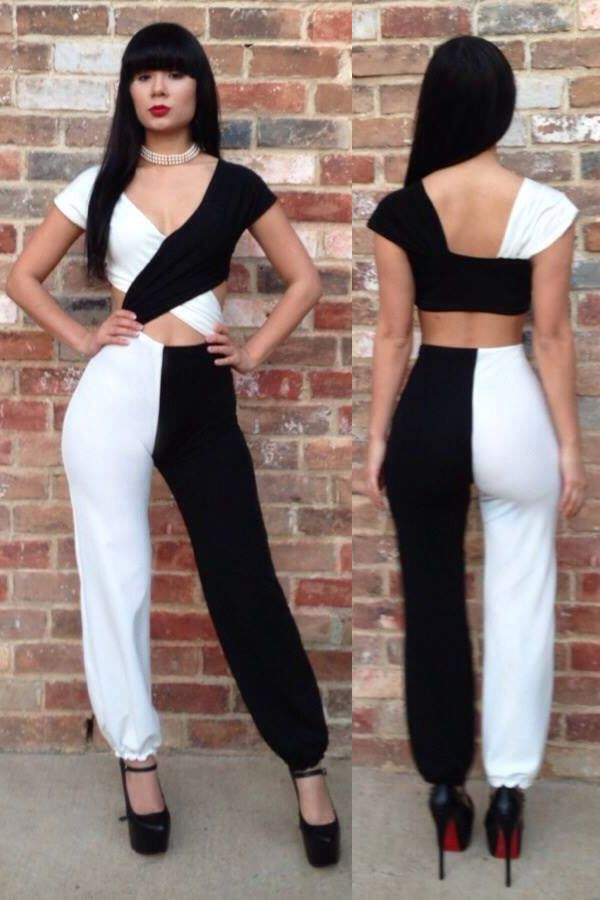 f3b710dc084d Half White Half Black Cross Bodice Jumpsuit Wholesale