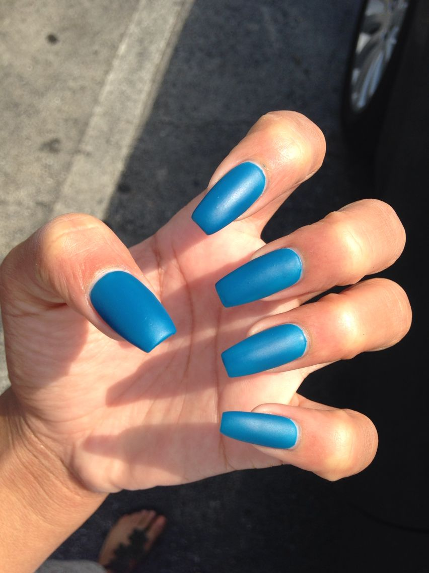 Attractive Matte Blue Coffin Nails Pictures - Nail Art Ideas ...