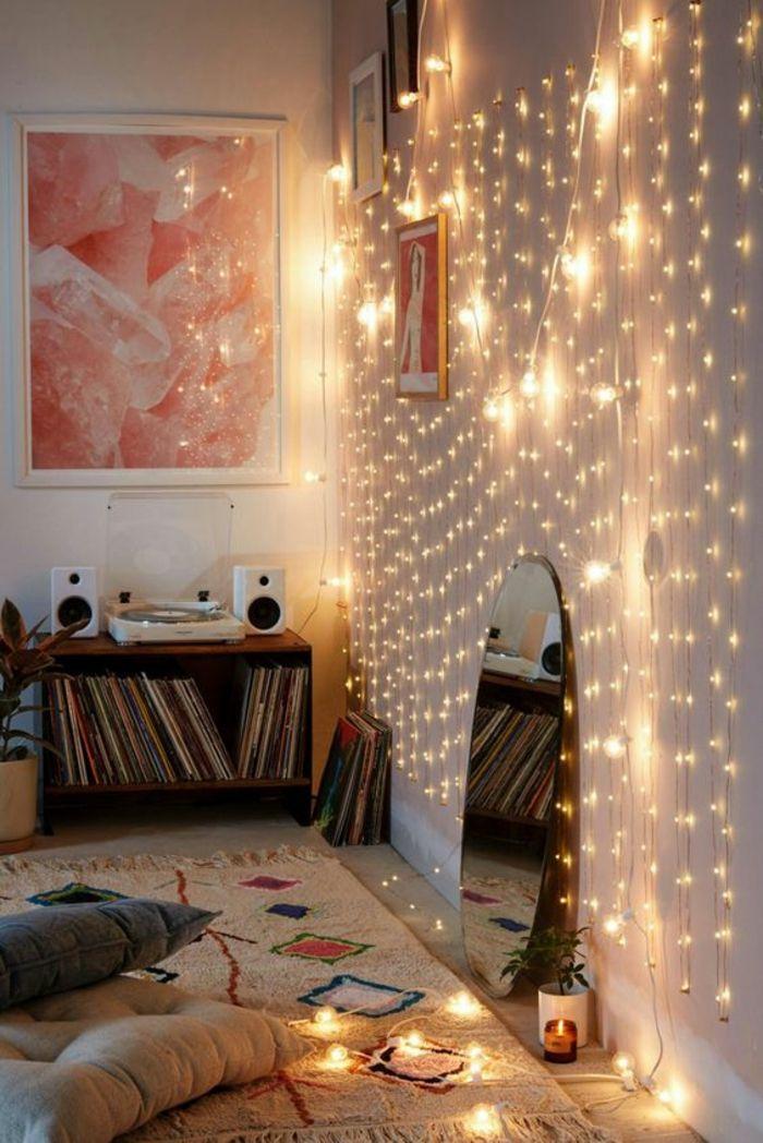 1001 ides pour une guirlande lumineuse pour chambre dco chambre cocoon dcoration pinterest bedroom room and room decor - Guirlande Lumineuse Deco Chambre