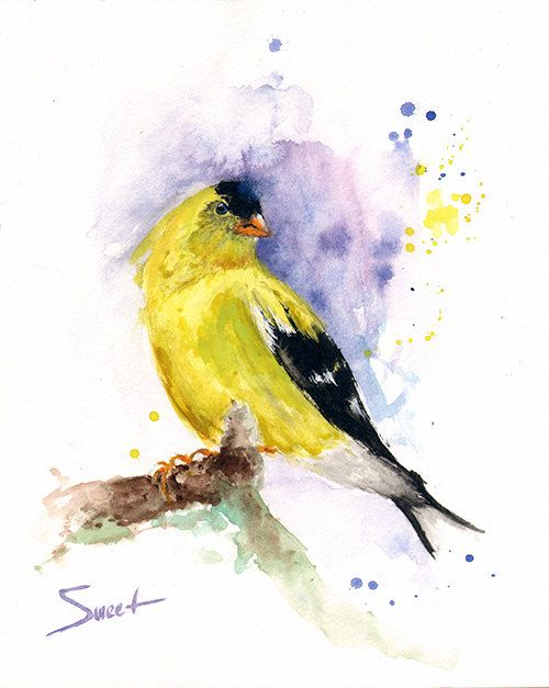 Yellow finch bird decor Painting of bird wall art by ...