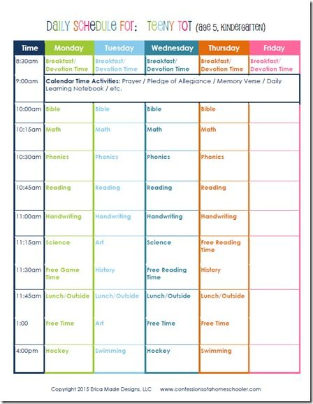 Kindergarten Daily Schedule With Images Homeschool Daily