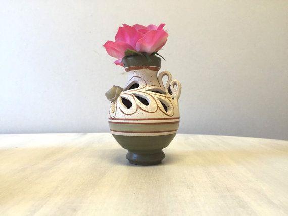 Tiny Clay Pottery Vase Clay Rustic Vase Brown Clay Vase Ceramic