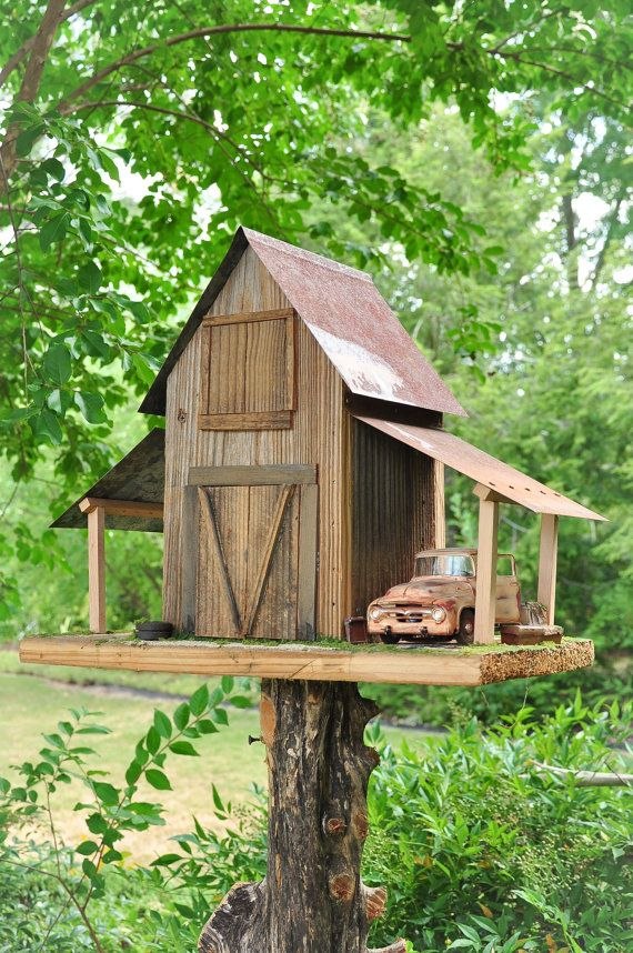 Rustic old barn with old work truck by yardbirdgardenart for Decor 07834