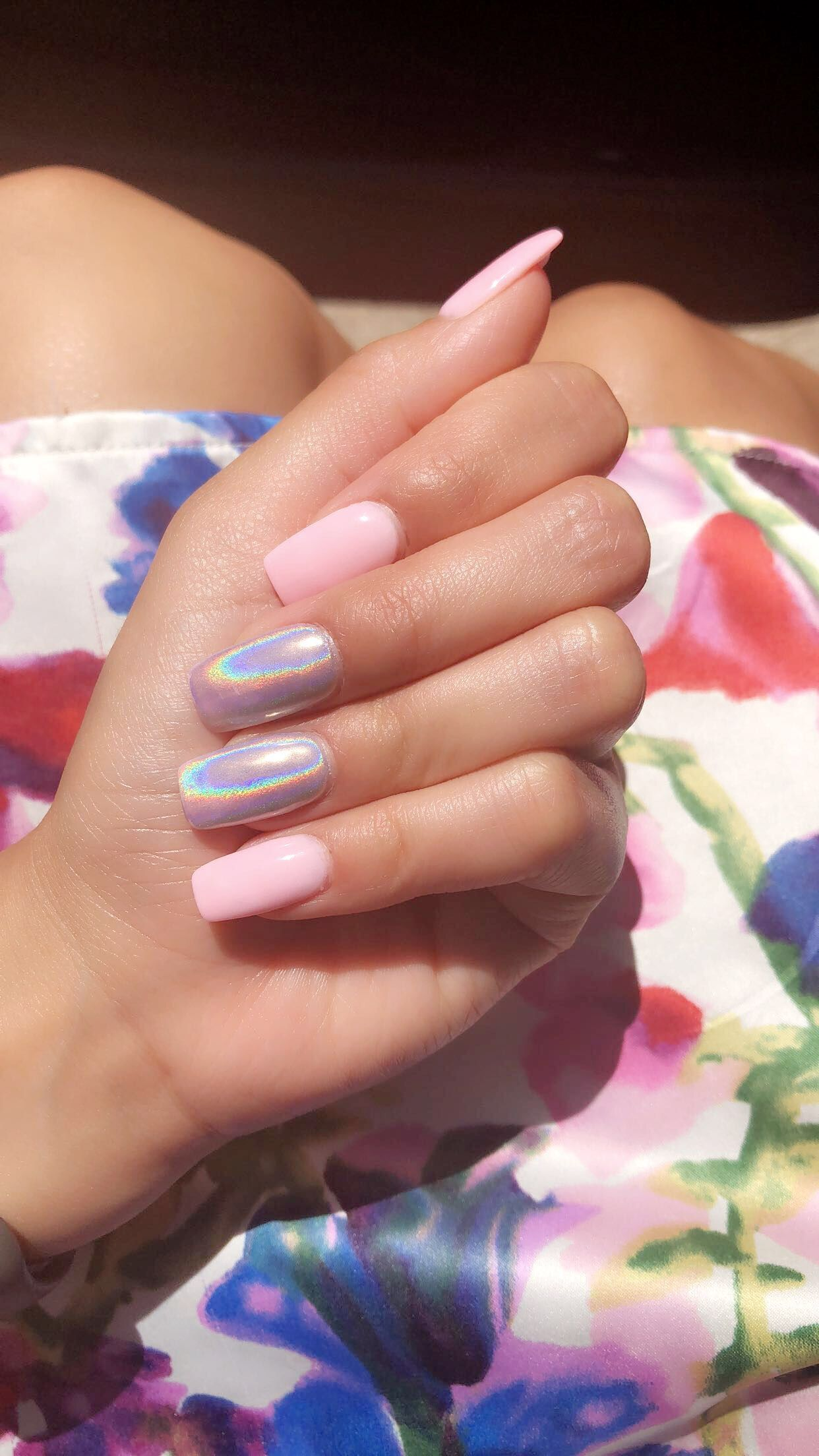 Pink Holographicnails Summer Summernails Dippedpowder Dippednails Pinknails Holographic Pink Holographic Nails Square Acrylic Nails Holographic Nails