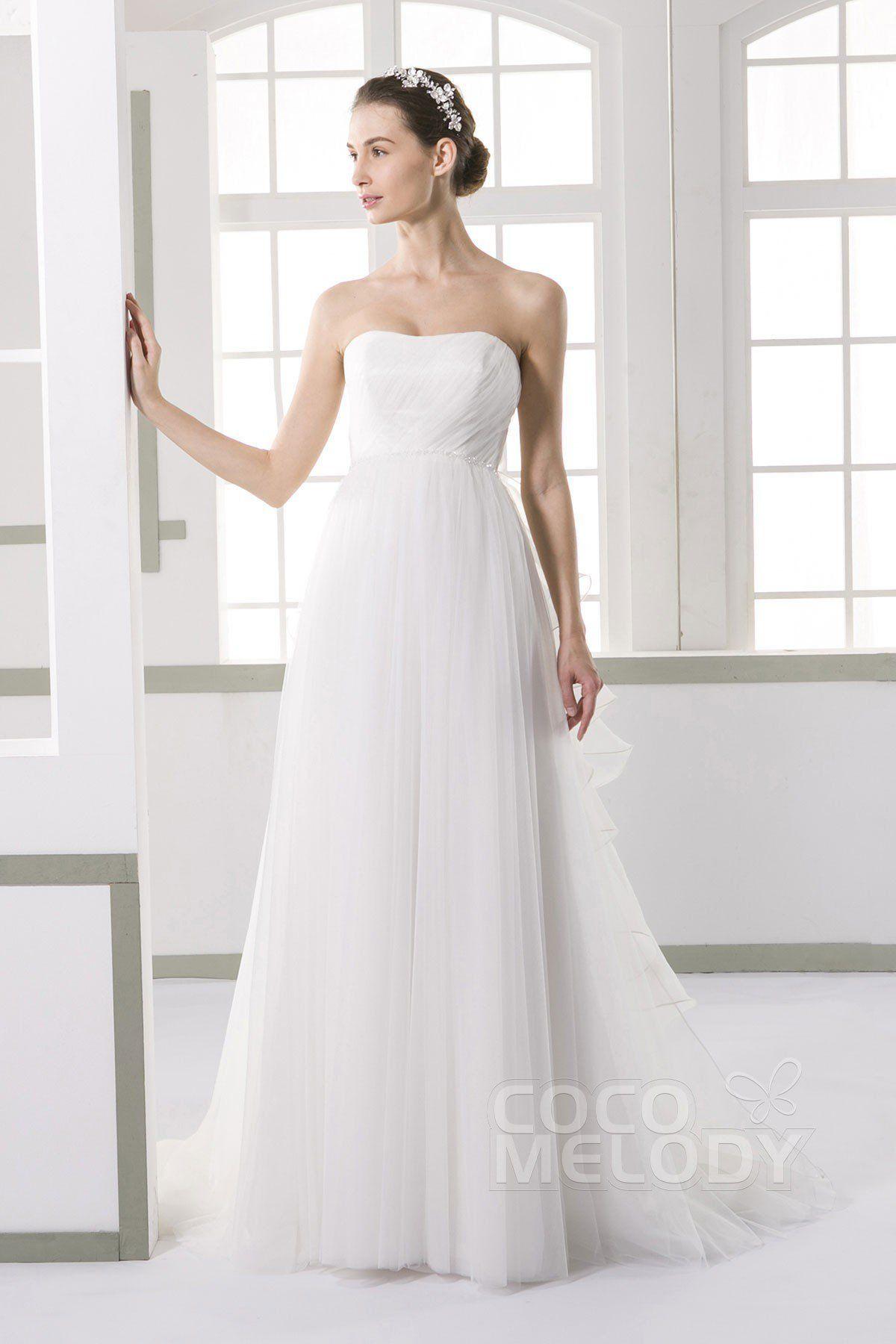 [ USD 599 ] SheathColumn Court Train Tulle Wedding Dress