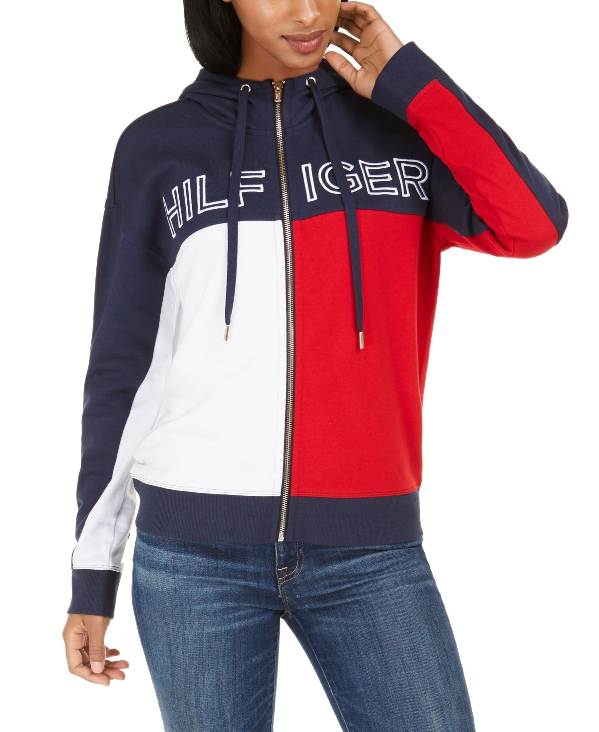 Tommy Hilfiger Colorblocked Zip Up Terry Hoodie Reviews Tops Women Macy S Womens Clothing Tops Womens Tops Tommy Hilfiger