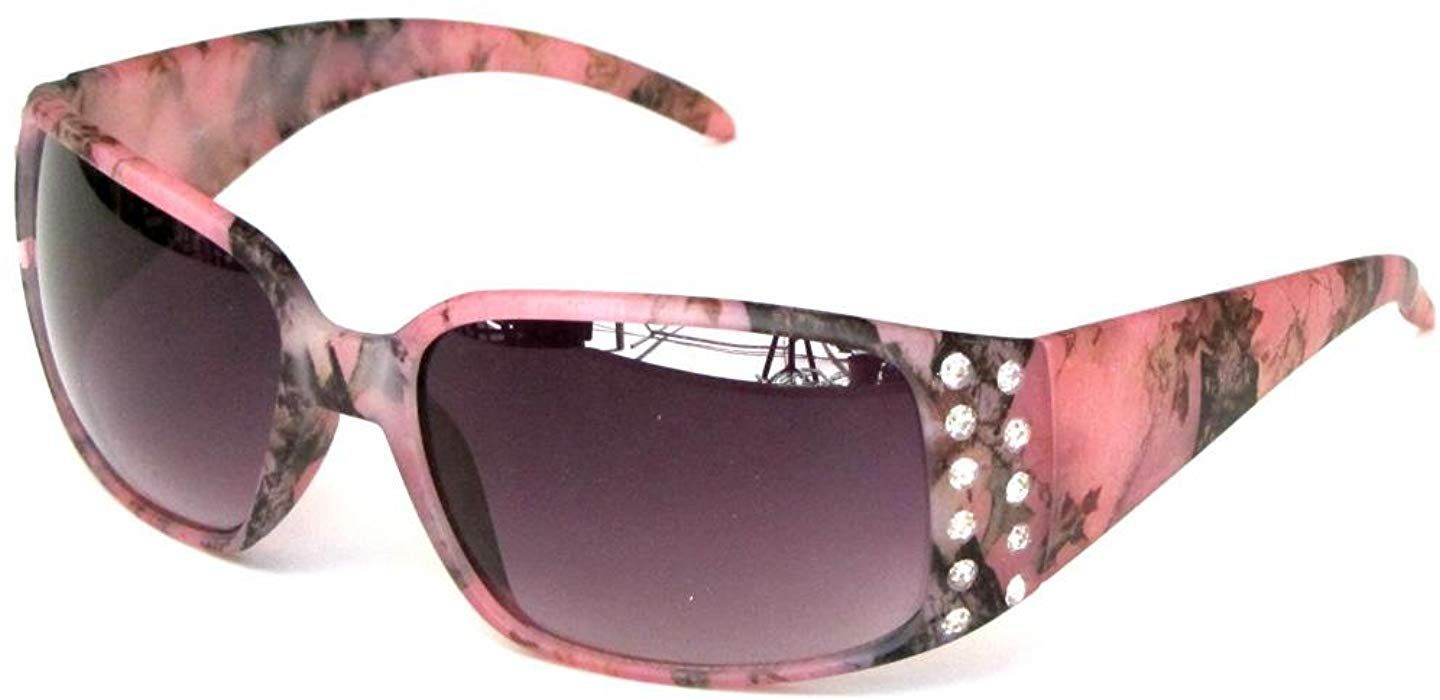 5f7c83a22b68 Amazon.com  VertX Women s Pink Camouflage Sunglasses Rhinestone Camo -  Purple Smoke Lens  Clothing