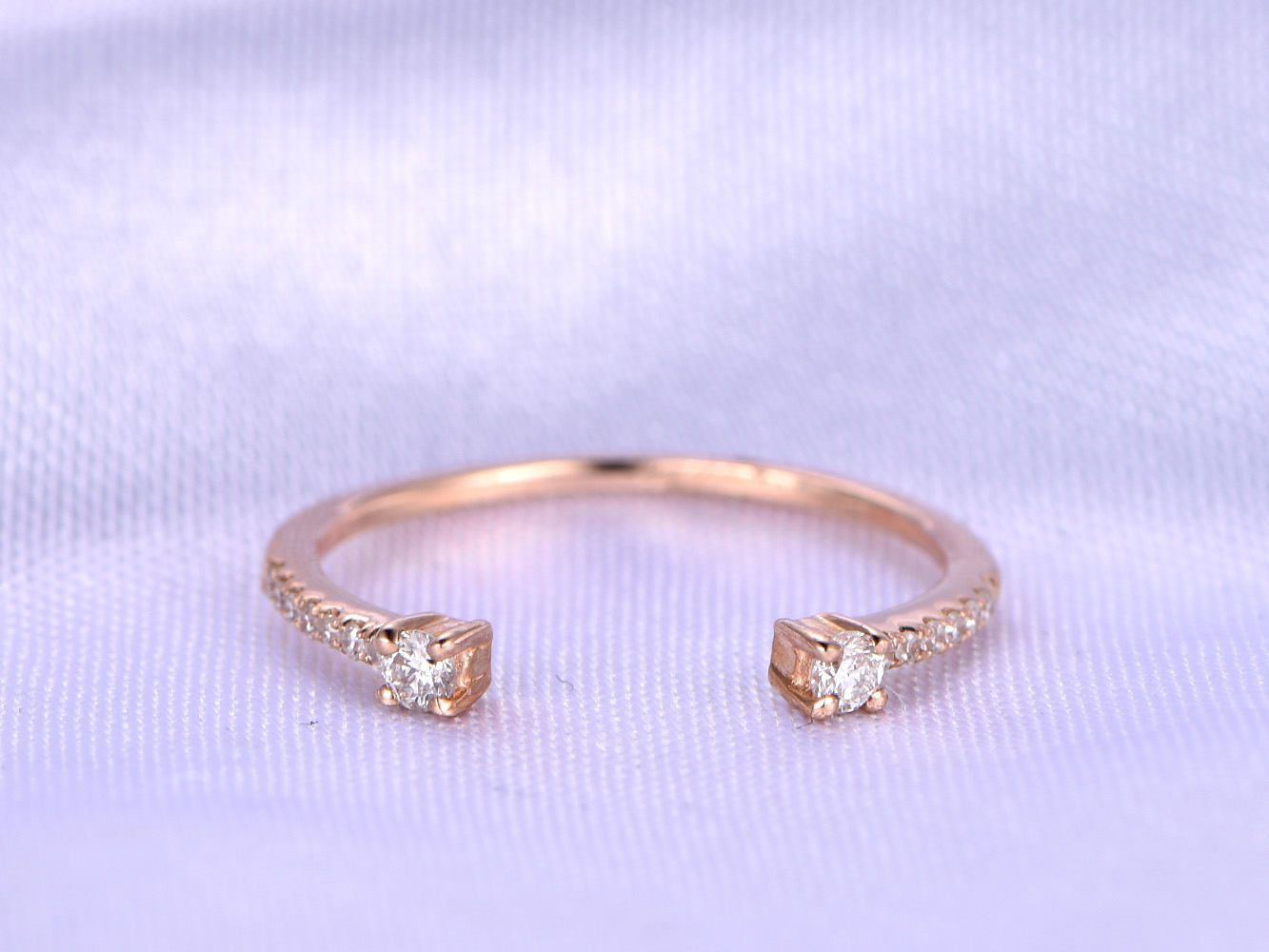 Diamond Wedding Band Real Matching Open Gap 10mm Half Eternity Ring Anniversary Personalized For Her Custom By Milegem On Etsy: Open Eternity Wedding Band At Reisefeber.org