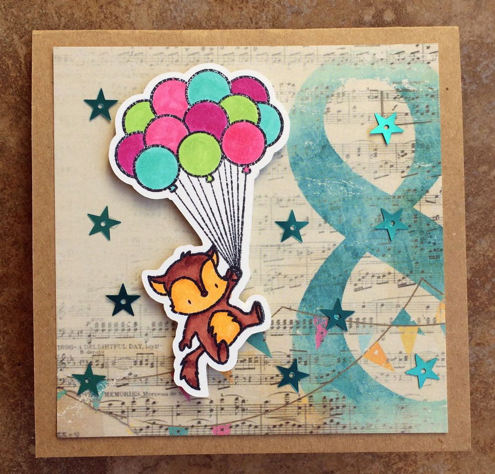 It's A Good Day To Be Happy featuring Mama Elephant Up & Away stamps and Glitz Unchartered Waters Paper