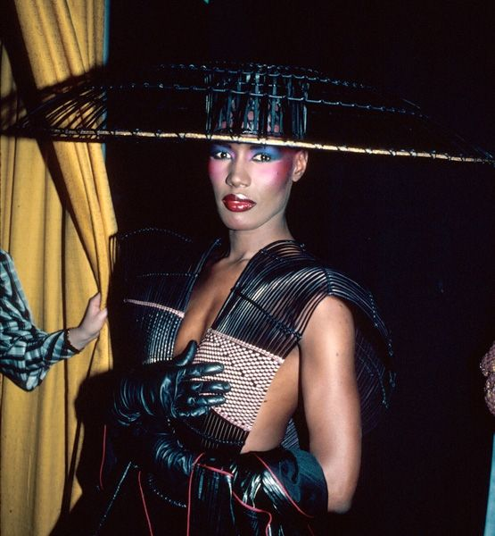With Excess The always cutting-edge singer Grace Jones made a statement at the 25th Grammy Awards in 1983 with a chinoise-inspired chapeau.