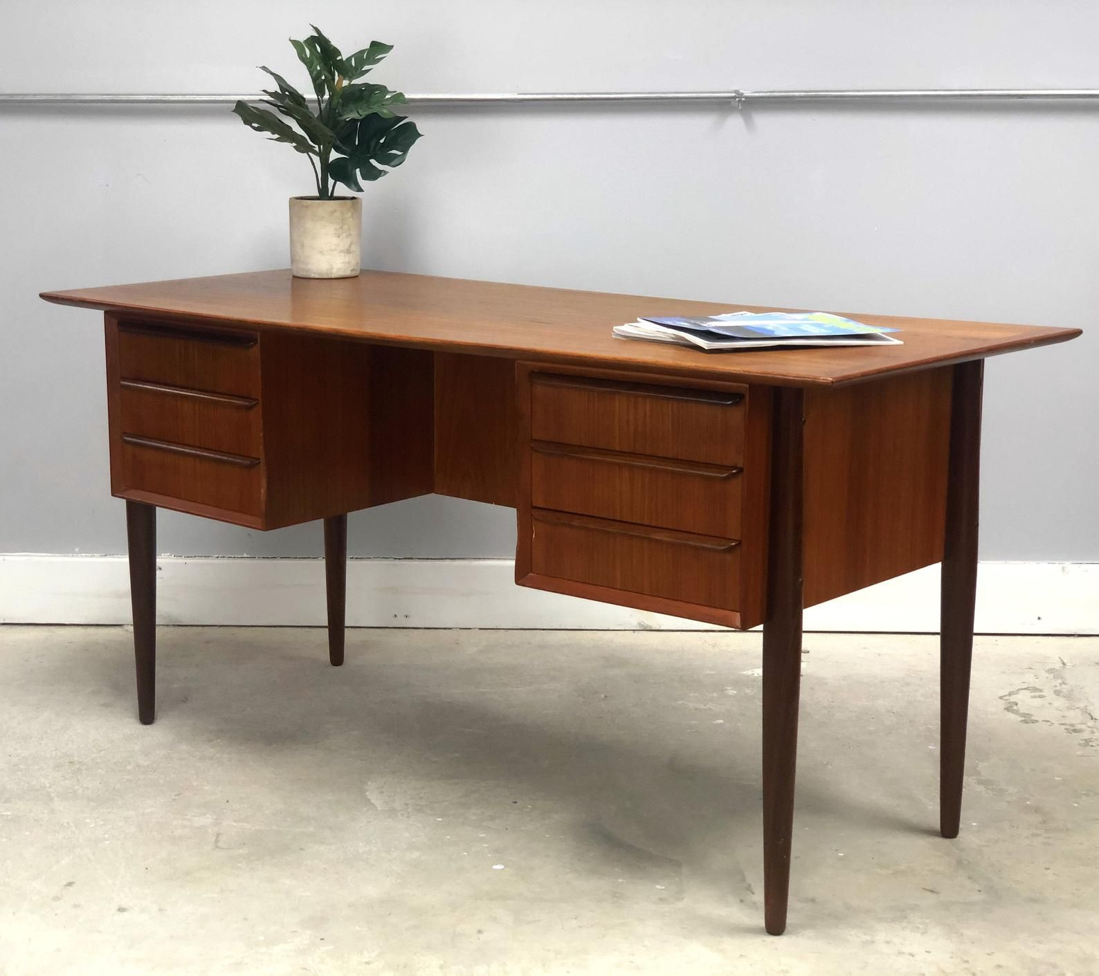 Mid Century Danish Modern Teak Desk With Bookcase Etsy In 2020 Mid Century Modern Office Desk Modern Office Furniture Desk Mid Century Modern Desk