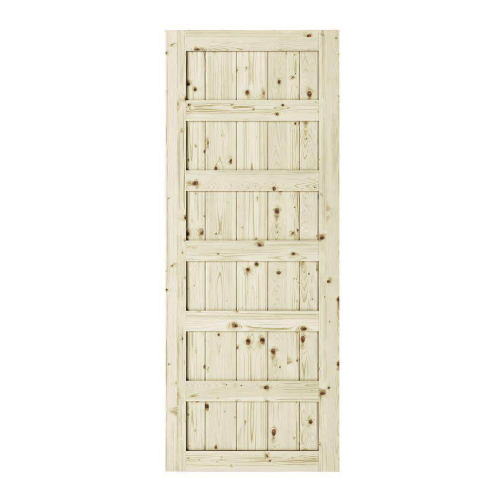 37 Inch X 84 Inch X1 3 8 Inchshaker 6 Panel Unfinished Pine Interior Barn Door Slab Interior Barn Doors Panel Doors Doors