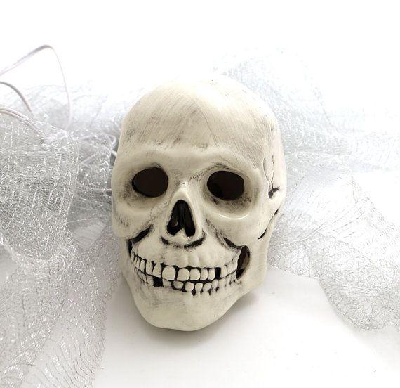 Light Up Ceramic Skull