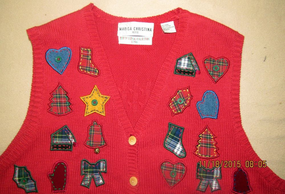 "Christmas Ugly Sweater Vest Marisa Christina Petite 1998 42"" Chest Mittens #MarisaChristina #VestSleeveless #Christmas"