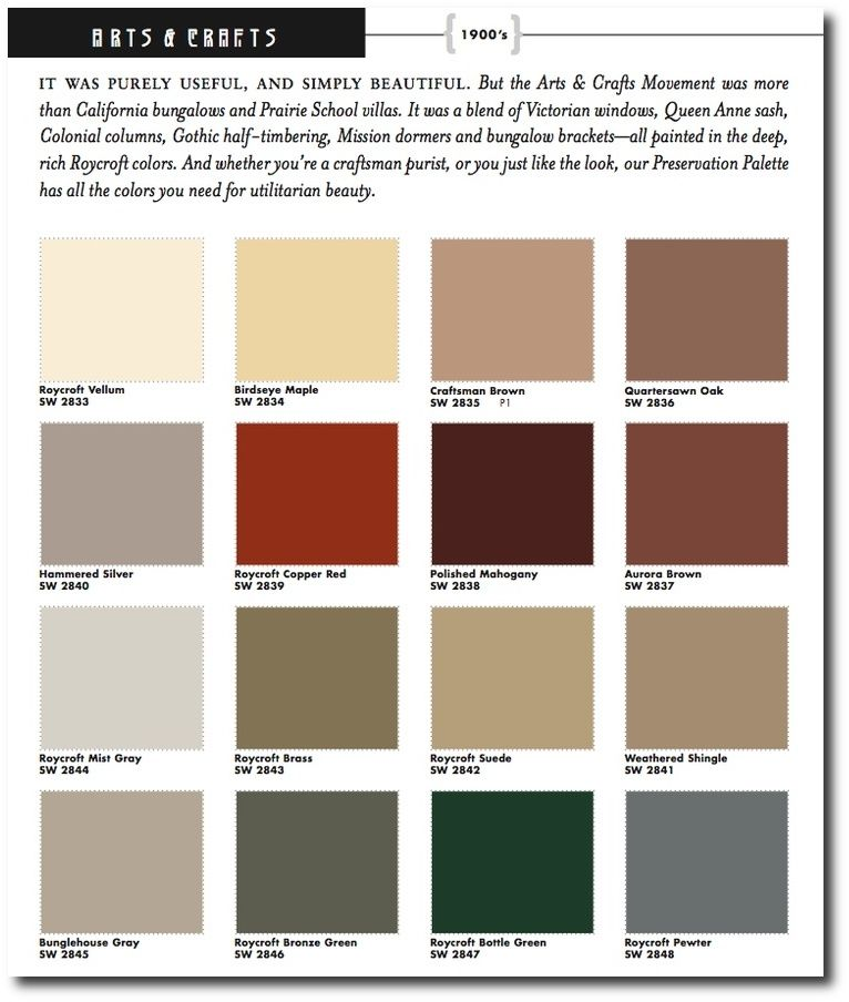 Craftsman colors crafts historic paint colors for Arts and crafts house colors