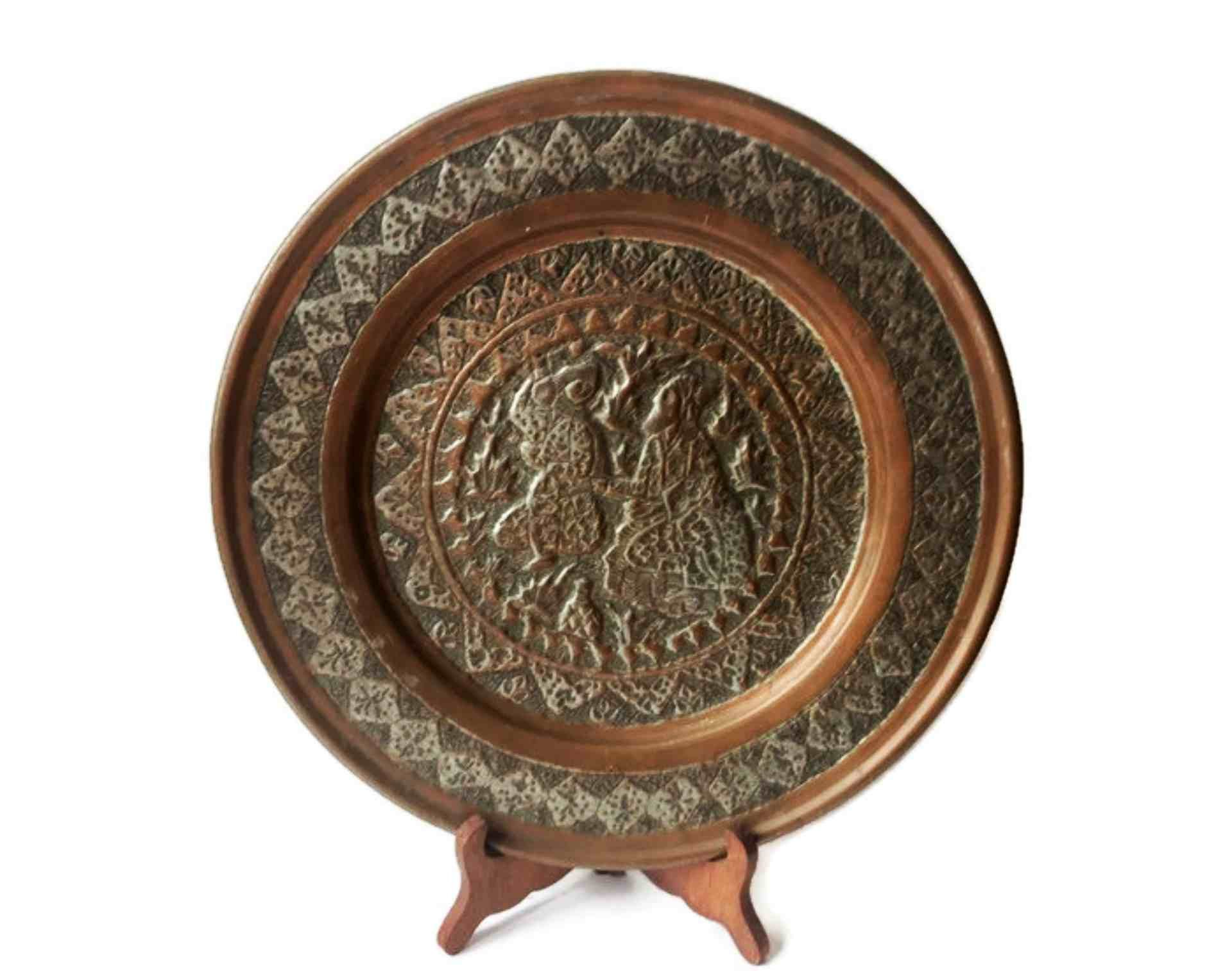 Antique Persian Middle Eastern Hand Chased Copper Plate Wall Etsy Plates On Wall Plate Display Copper Plated