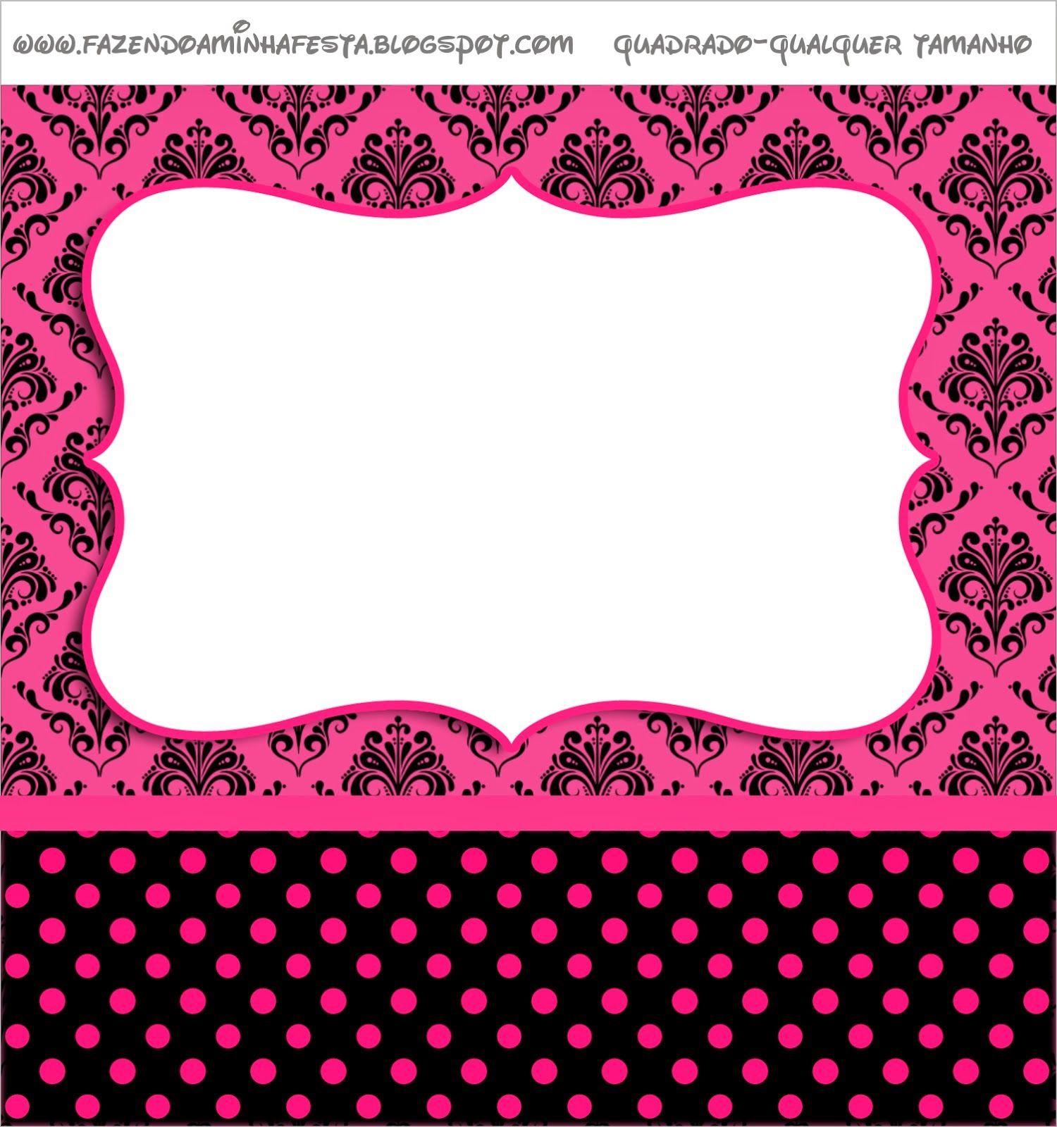 1538f5d4c17 Damasco negro sobre fucsia: Etiquetas para Candy Bar para Imprimir Gratis.