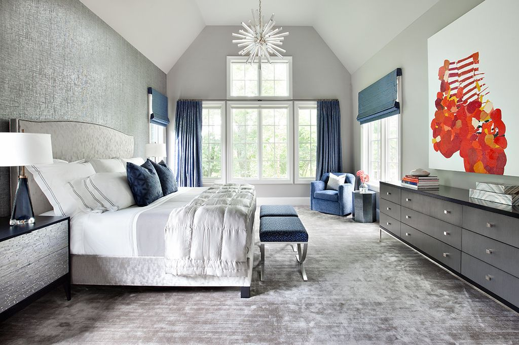 Transitional Master Bedroom With Custom Curtains In Mrs. Peacock Labyrinth  By Donghia, Woven Shades