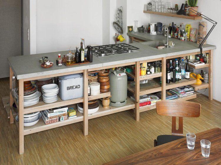 Plan De Travail En Béton Ciré   Photos Supers Et Conseils DIY. Rangements  CuisineRangement ... Conception Impressionnante