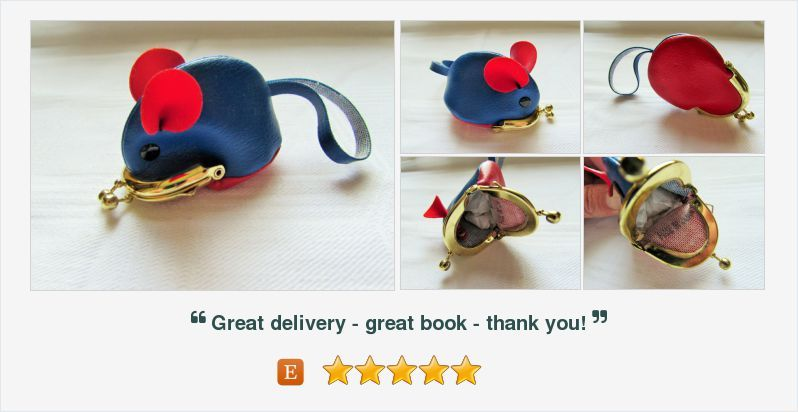Vintage Mouse Coin Purse Blue and Red
